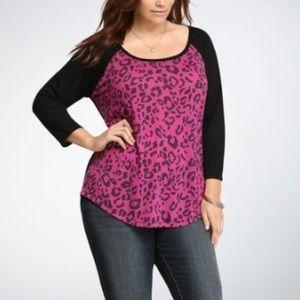 Torrid Pink/Purple Leopard Raglan Size